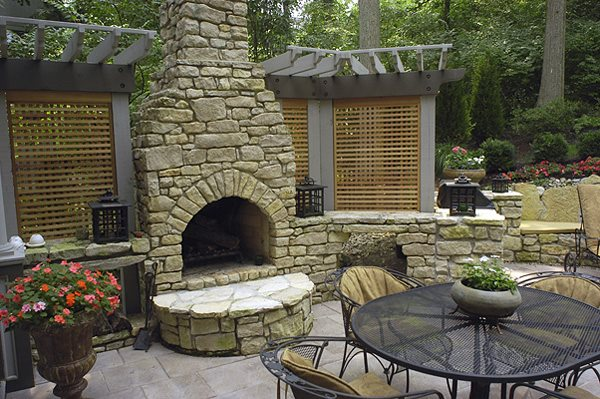 Rock Fireplace, Arched Firebox Outdoor Fireplace Outdoor Design Build Cincinnati, OH
