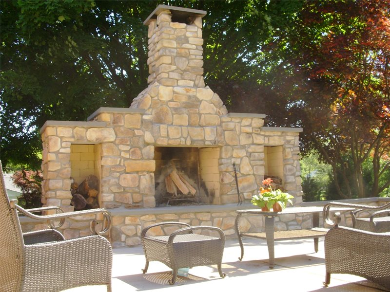 Rock Fireplace Outdoor Fireplace Continental Landscaping Severn, MD