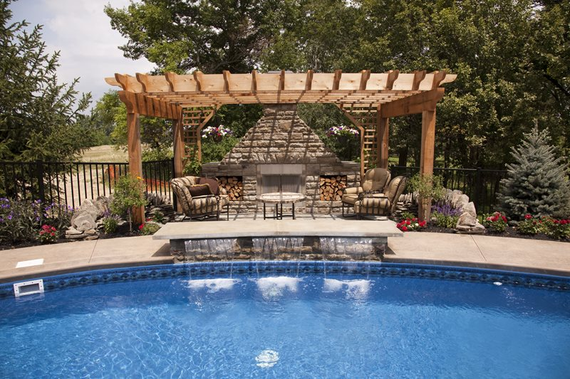 Sheer Descent Waterfalls, Fireplace Pergola Outdoor Fireplace Landscaping Network Calimesa, CA
