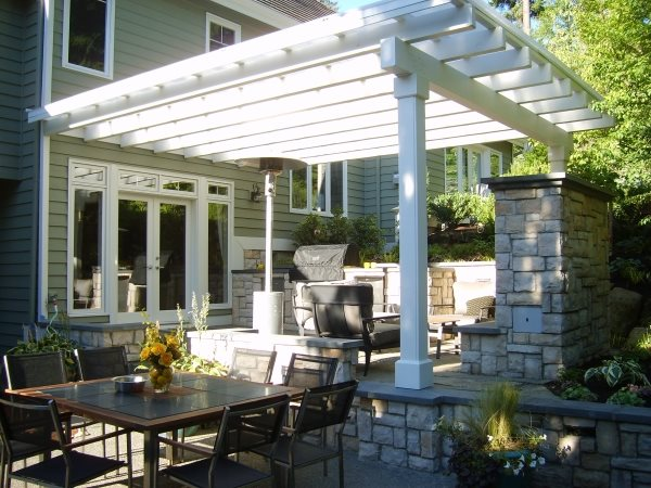 Attached Pergola, Custom Outdoor Kitchen, Grill Cover Outdoor Kitchen Environmental Construction, Inc. Kirkland, WA