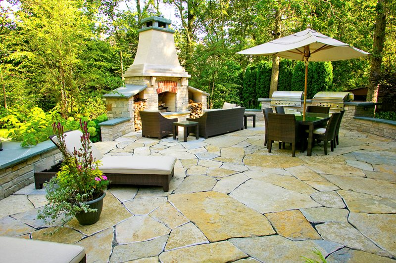 Backyard Fireplace, Flagstone Patio, Two Grills, Seat Walls Outdoor Kitchen Romani Landscape Architecture Glencoe, IL