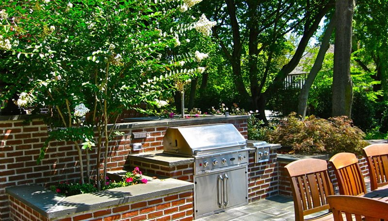 Brick Outdoor Kitchen, Stone Countertops Outdoor Kitchen Liquidscapes Pittstown, NJ