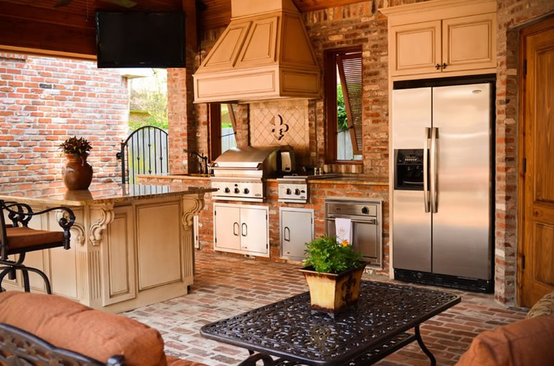 Brick, Refrigerator, Grill, Island Outdoor Kitchen Angelo's Lawn-Scape Of Louisiana Inc Baton Rouge, LA