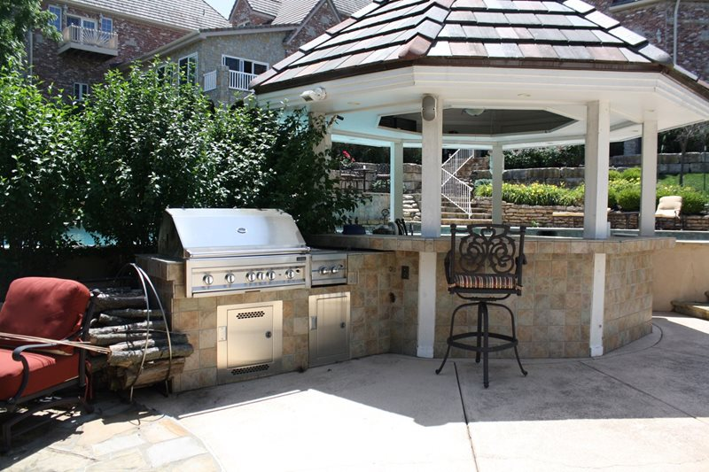 Built In Grill, Covered Swim Up Bar Outdoor Kitchen Turf Designers Lees Summit, MO