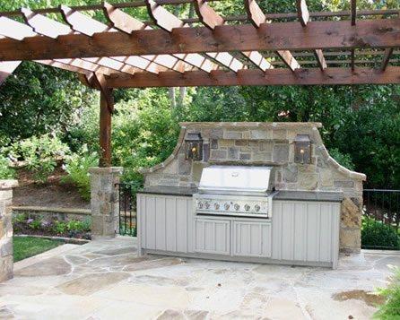 Built-In Grill, Outdoor Cupboards Outdoor Kitchen Bennett Design & Landscape Atlanta, GA