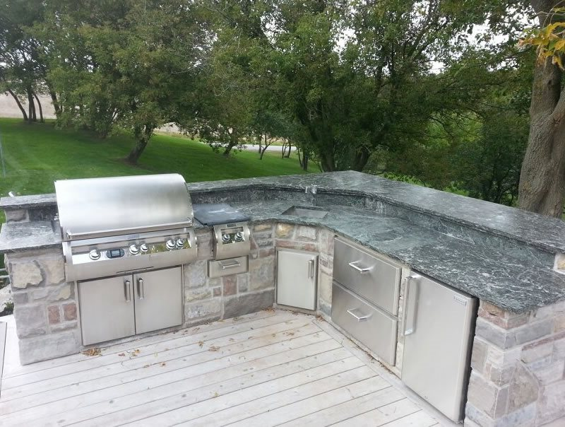 Buitl In Grill Deck Outdoor Kitchen OGS Landscape Services Whitby, ON