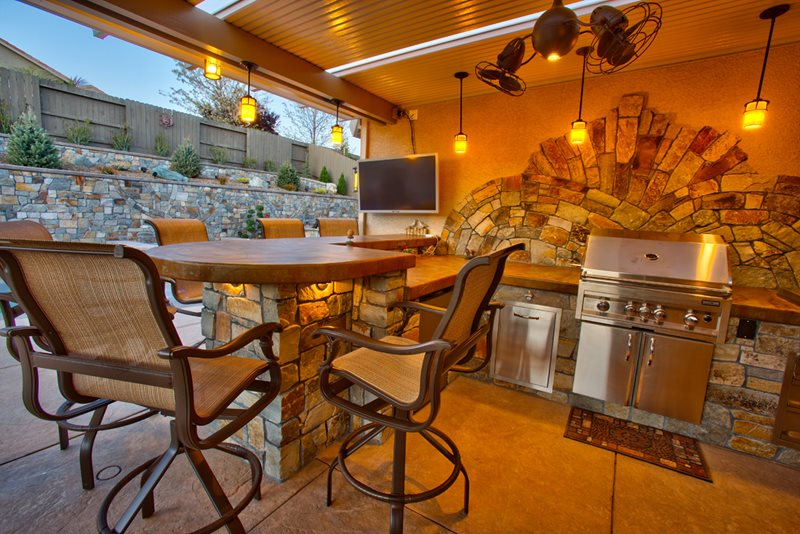 Covered Outdoor Kitchen, Concrete Counters Outdoor Kitchen Poseidon Pools Folsom, CA