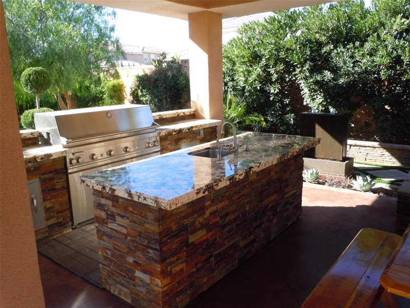 Granite Countertops, Grill Outdoor Kitchen Newtex Landscape, Inc. Henderson, NV
