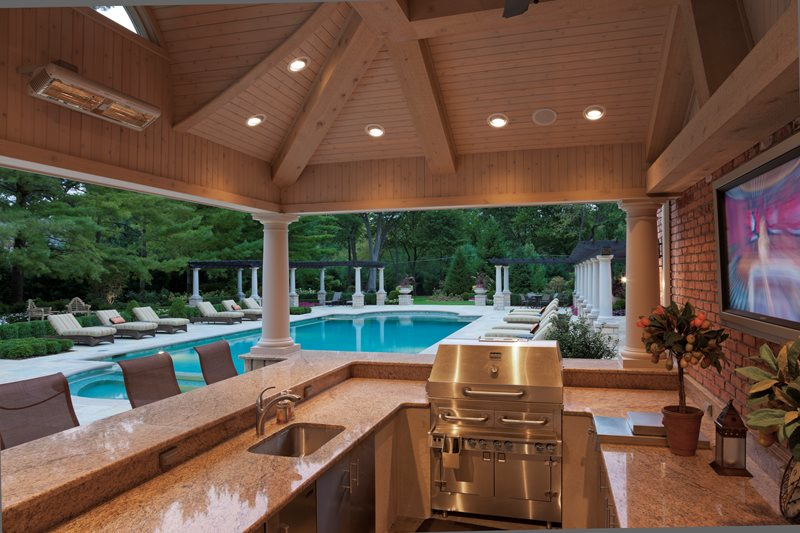 Granite Outdoor Kitchen Counters, Hybrid Grill Outdoor Kitchen Zaremba and Company Landscape Clarkston, MI