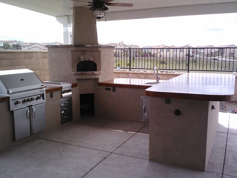 Grill, Side Burner, Pizza Oven, Sink Outdoor Kitchen Poseidon Pools Folsom, CA