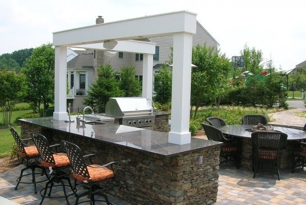 L Shaped Outdoor Kitchen Outdoor Kitchen Chapel Valley Landscape Company Woodbine, MD