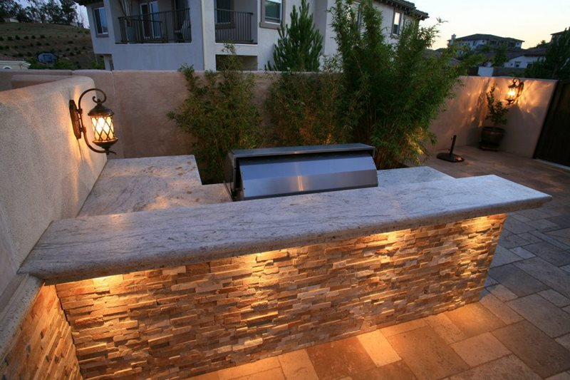 L Shaped Outdoor Kitchen Stone Counters Lisa Landscape Design Solvang Ca
