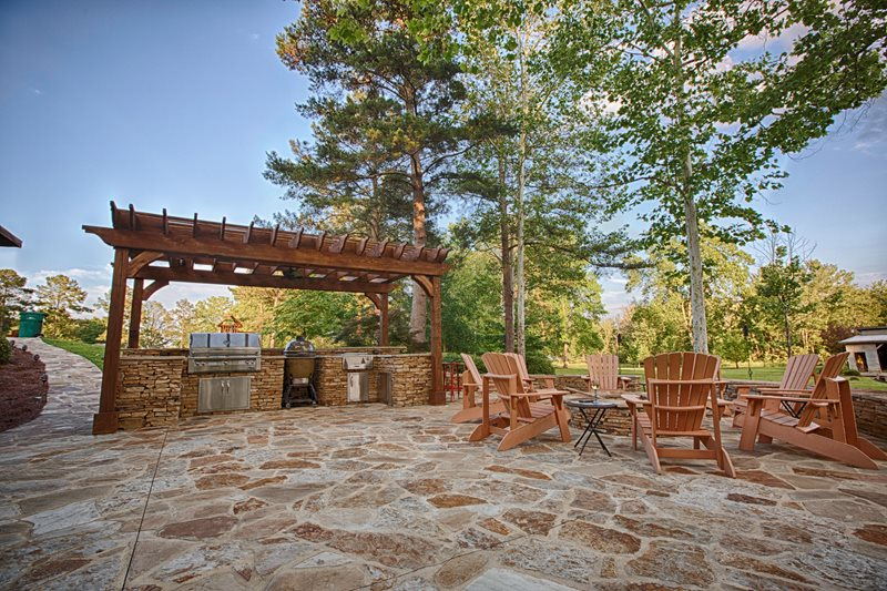Mahogany Flagstone, Pressure Treated Pergola, Alfresco Grill Outdoor Kitchen Proscape Inc.  Tuscaloosa, AL