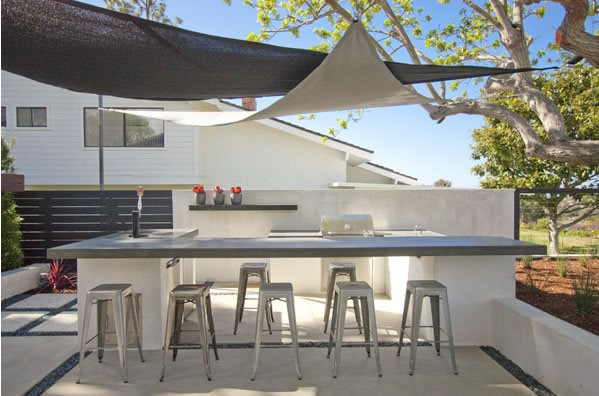 Modern Outdoor Kitchen, Shade Sails Outdoor Kitchen DC West Construction Inc. Carlsbad, CA