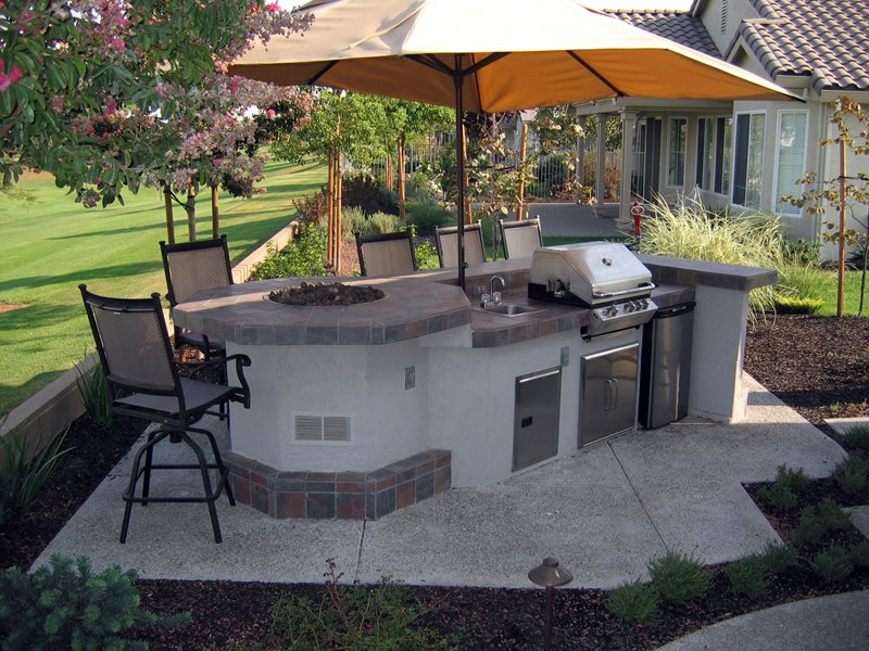 Outdoor Kitchen Fire Feature, Grill Shade Umbrella Outdoor Kitchen Simple Elegance Rocklin, CA