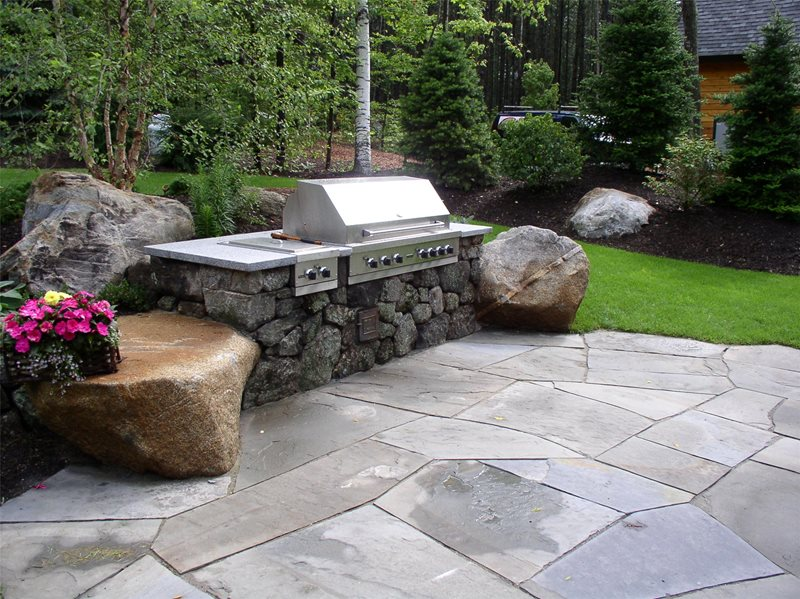 Rock Bbq Outdoor Kitchen Belknap Landscape Co., Inc. Gilford, NH
