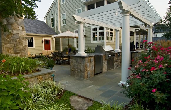 Shade For Grill, White Pergola Outdoor Kitchen Walnut Hill Landscape Company Annapolis, MD