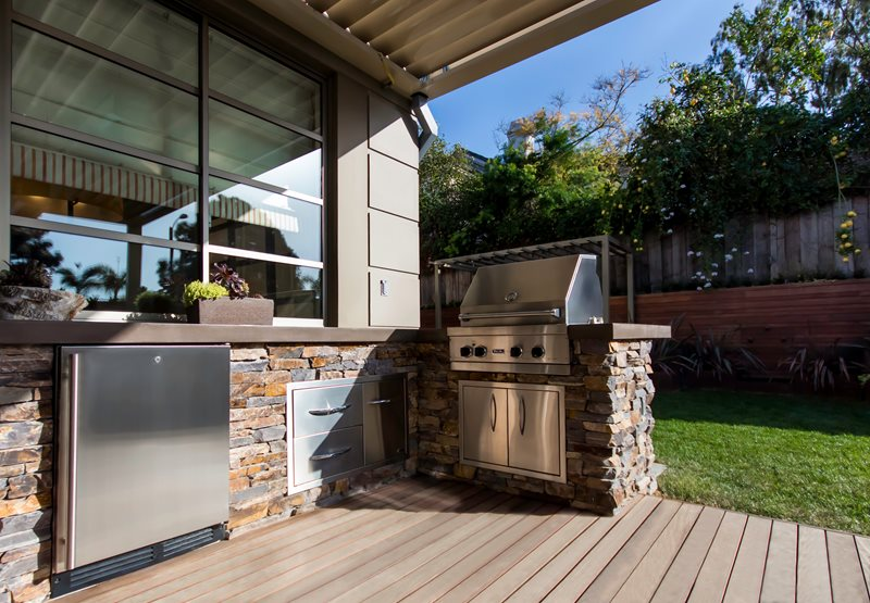 Stacked Stone Outdoor Kitchen, Four Burner Grill Outdoor Kitchen Studio H Landscape Architecture Newport Beach, CA