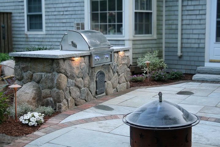 Stone Bbq Outdoor Kitchen Captain's Landscape Design and Build Duxbury, MA