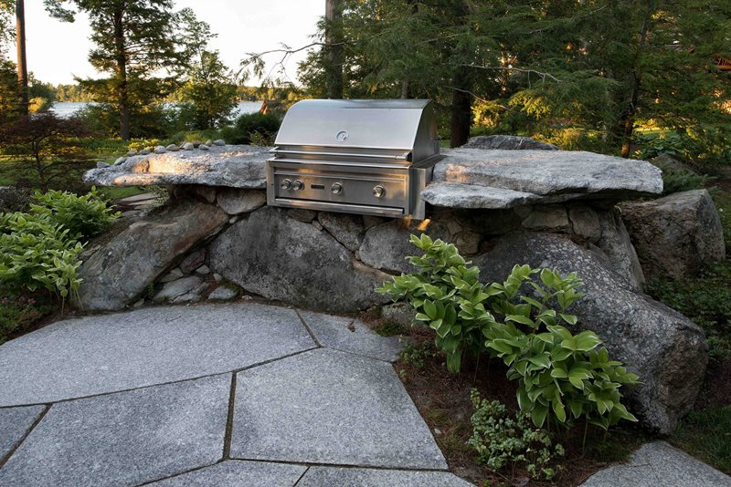 Stone Bbq, Granite, Boulders Outdoor Kitchen Pellettieri Associates Warner, NH