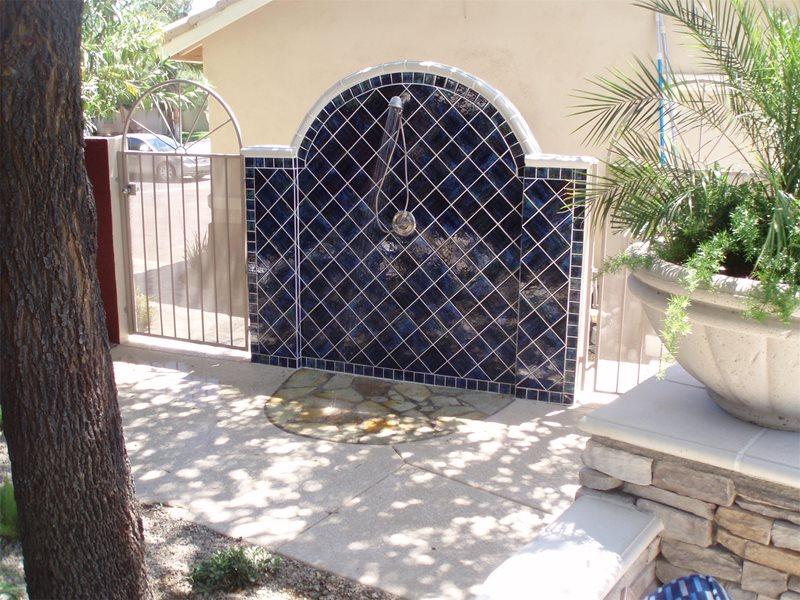 Blue Tile, Spanish Outdoor Showers Newtex Landscape, Inc. Henderson, NV