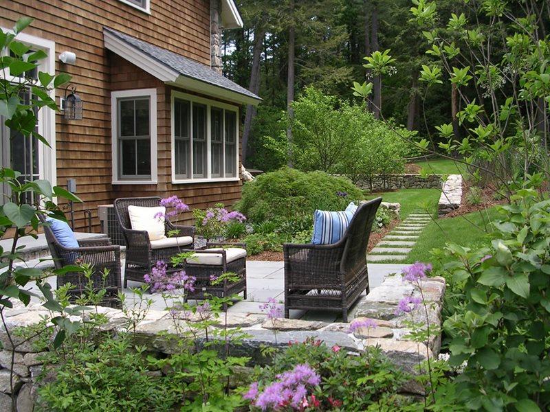 Back Patio, Stone Paving, Wicker Furniture Patio A. Bonadio & Sons, Inc. Waltham, MA