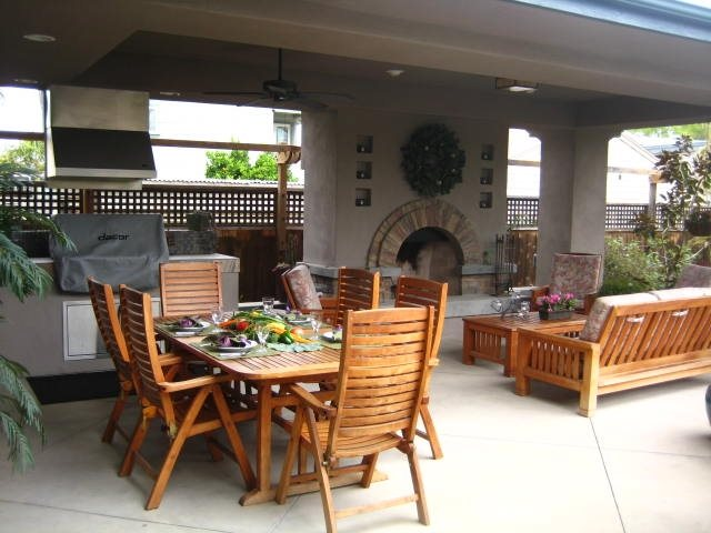 Enclosed Patio With Fireplace Patio Landscaping Network Calimesa, CA