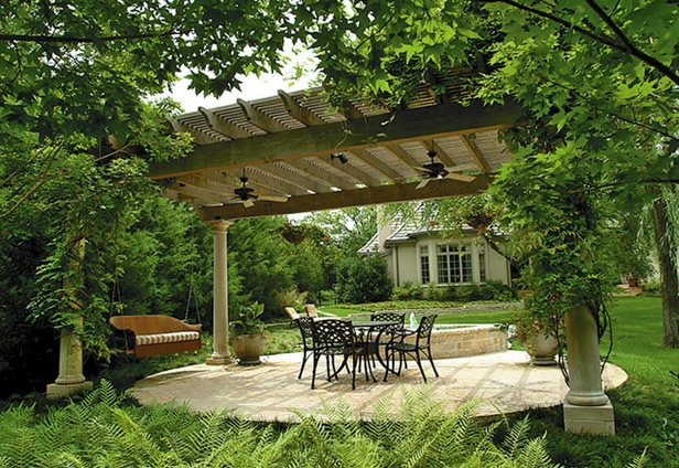 Round, Concrete Patio, Pergola Patio Bonick Landscaping Dallas, TX