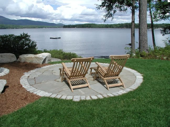 Round Lakeside Patio Patio Belknap Landscape Co., Inc. Gilford, NH