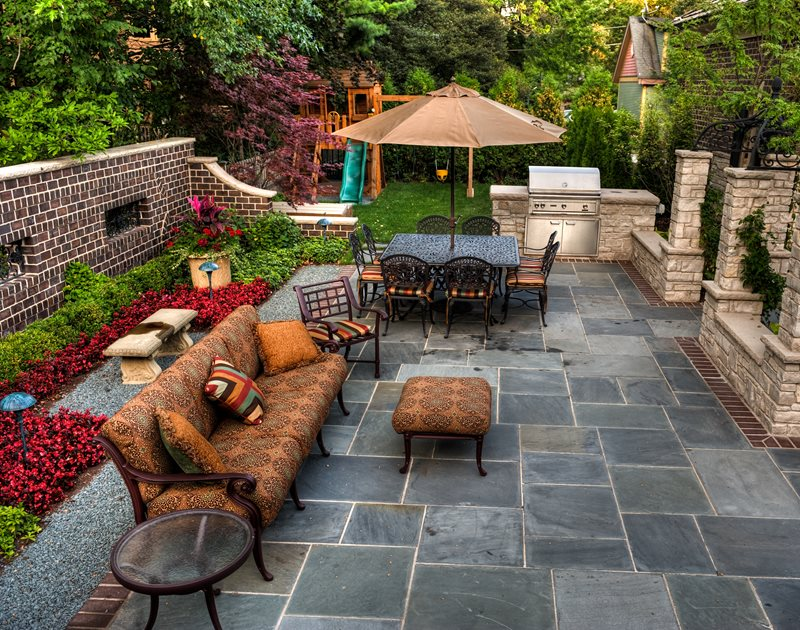 Slate Patio, Small Patio Patio Landscaping Network Calimesa, CA