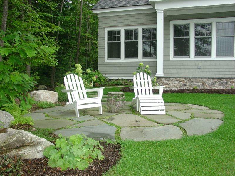 Small Circular Stone Patio Patio Belknap Landscape Co., Inc. Gilford, NH