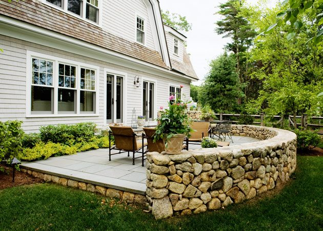 Elegant Stone Patio Wall, Luxury Backyard Patio Patio Yard Boss Landscape Design  LLC Mattapoisett, MA