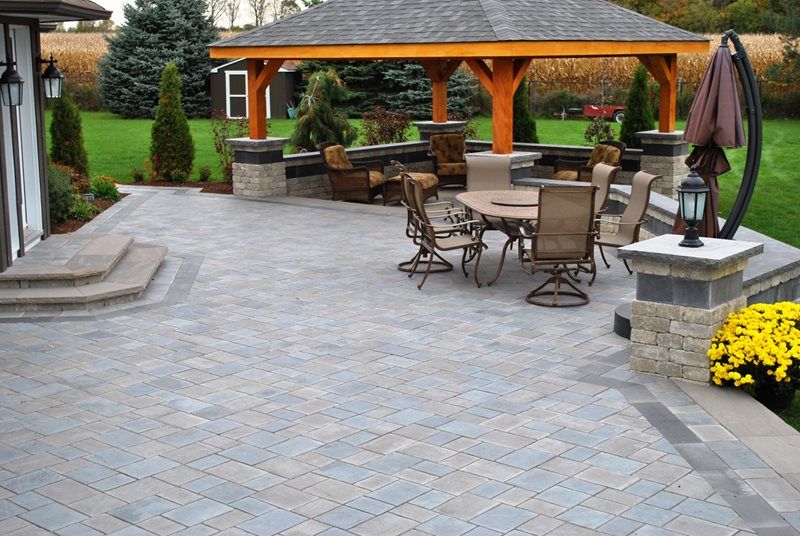 Large Paver Patio, Pergola Roof Paver Patio OGS Landscape Services Whitby,  ON