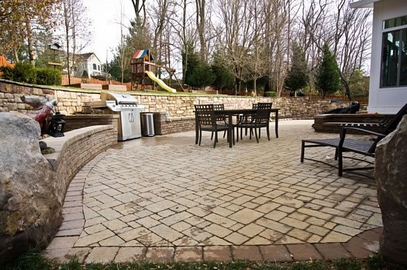 Paver Patio, Tan Pavers, Herringbone Paver Patio StoneScapes Design Hanover, MD