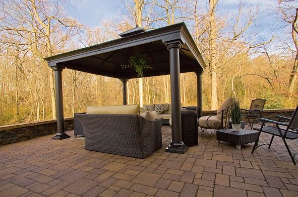 Roofed Patio Cover, Columns, Pavers Paver Patio StoneScapes Design Hanover, MD