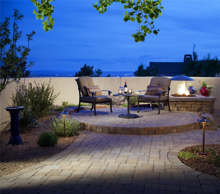 Round, Small, Raised, Patio, Pavers, Fire Pit, Lighting Paver Patio WaterQuest, Inc. Albuquerque, NM