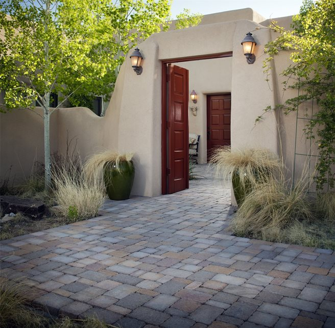 Gate, Stucco, Entry, Courtyard, Grasses Paver Walkway WaterQuest, Inc. Albuquerque, NM