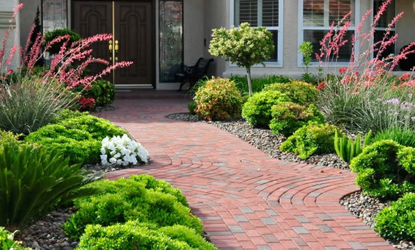Red Pavers, Clay Pavers Paver Walkway Chip-N-Dales Landscaping Las Vegas, NV