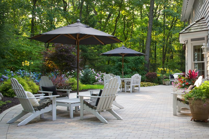 Brick Paver Patio, White Adirondack Chairs Paver Small's Landscaping Inc Valparaiso, IN