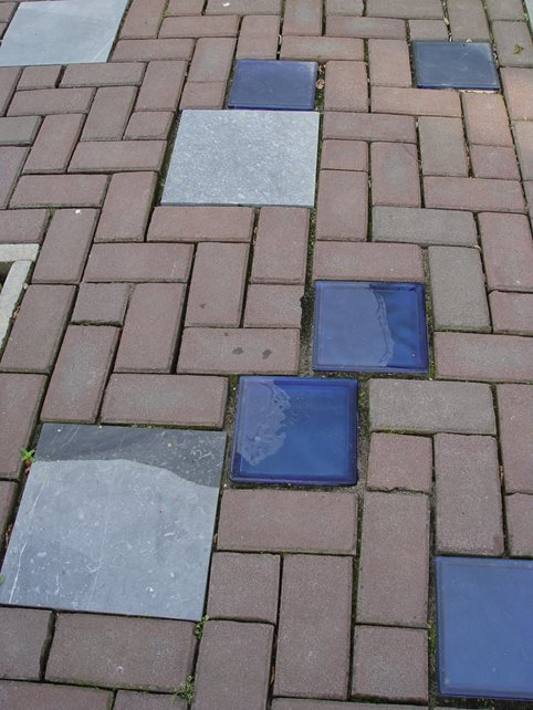 Paver Accents, Blue Glass Paver Maureen Gilmer Morongo Valley, CA