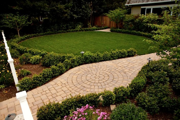 Paver Walkway, Lawn, Drip Irrigation Paver Aesthetic Gardens Mountain View, CA
