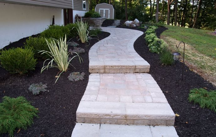 Paver Walkway, Light Color, Narrow, Plants Paver Lehigh Lawn & Landscaping Poughkeepsie, NY