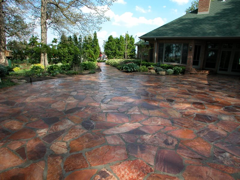 Red Flagstone Patio Paving Paving Small's Landscaping Inc Valparaiso, IN