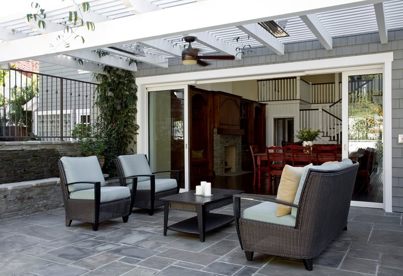 Bluestone Patio Seating Area, White Cape Cod Patio Cover Pergola and Patio Cover Stout Design Build Los Angeles, CA