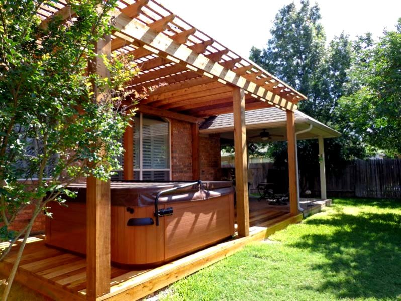 Cedar Spa Pergola Pergola and Patio Cover GreenScapes Landscaping and Pools Austin, TX