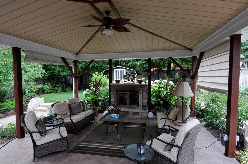 Covered Patio, Small Gas Fireplace Pergola and Patio Cover Renaissance Landscape Group Inc Puslinch, ON