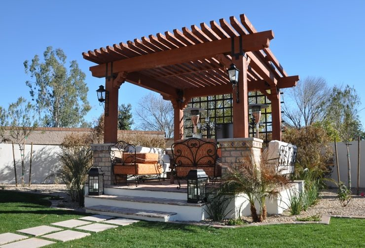 Covered Pergola Pergola And Patio Cover Straight Line Landscape Phoenix, AZ