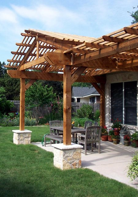 Custom Patio Cover Pergola And Patio Cover Kevin Wood Landscapes Austin, TX