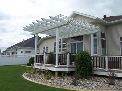 Deck Cover, White Patio Cover Pergola And Patio Cover Signature Landscapes  Inc. Fargo,