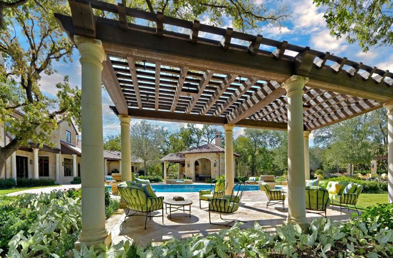 Large Pergola, Lattice Style Pergola and Patio Cover Harold Leidner Landscape Architects Carrollton, TX